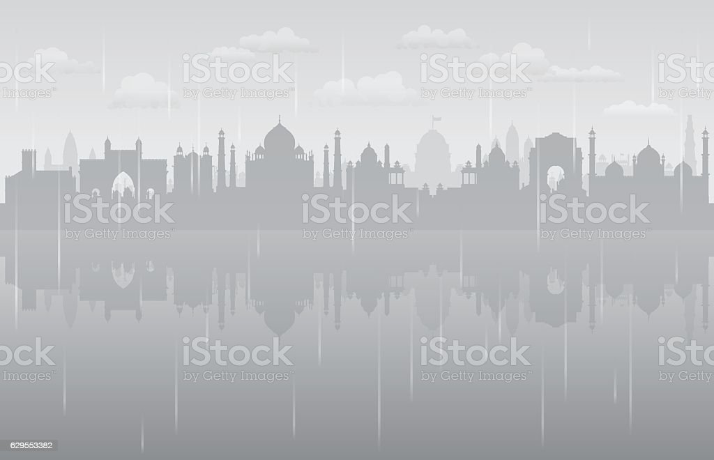 India Rain (All Buildings are Complete and Moveable) vector art illustration