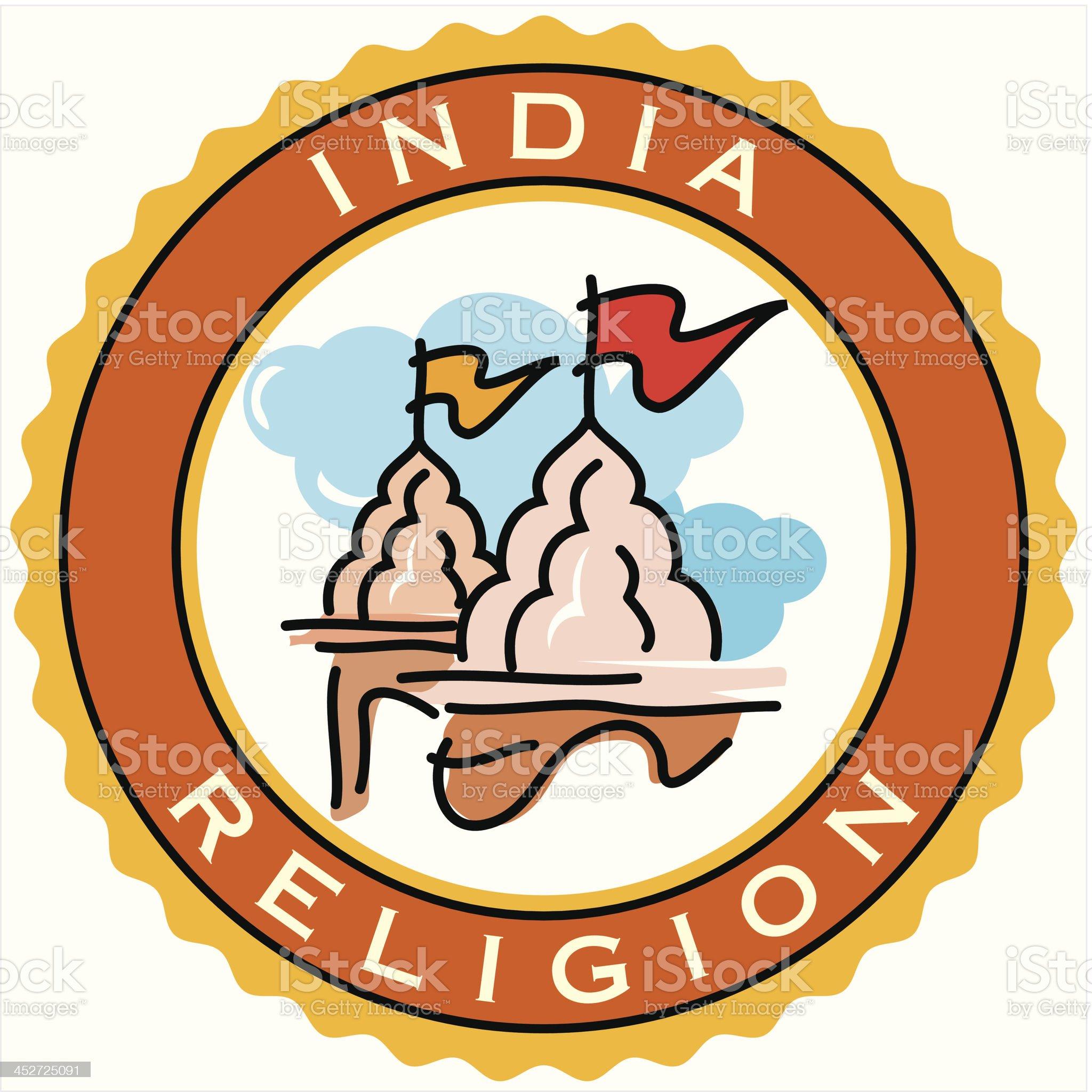 India religion label royalty-free stock vector art