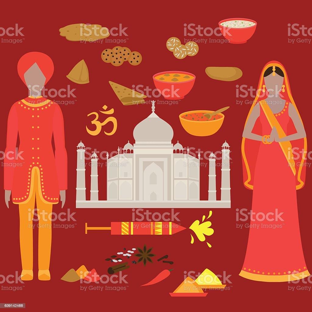 India set. Hinduism design elements. vector art illustration