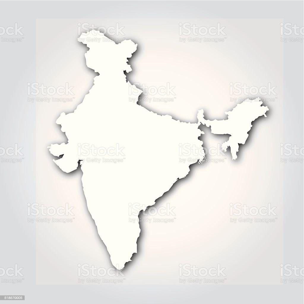 India Silhouette White vector art illustration