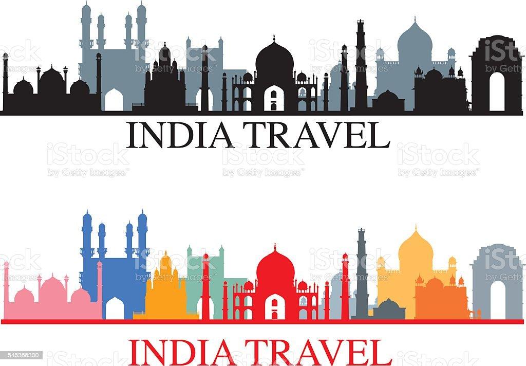 India Skyline vector art illustration