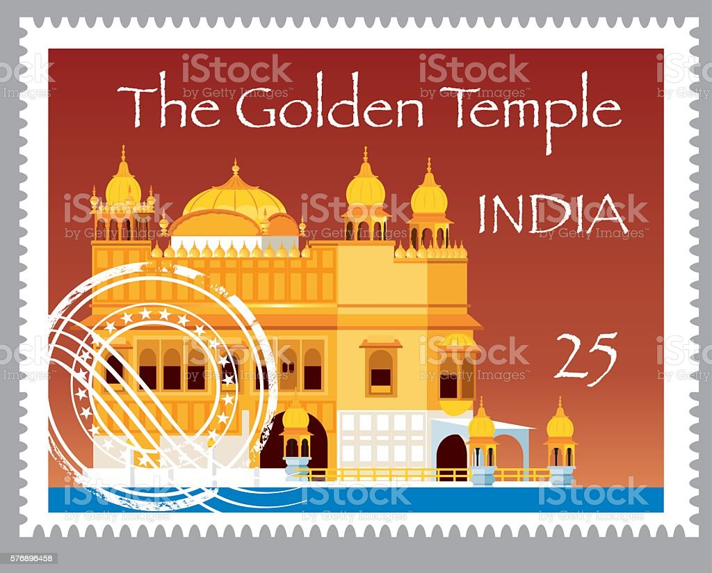 India Stamps vector art illustration