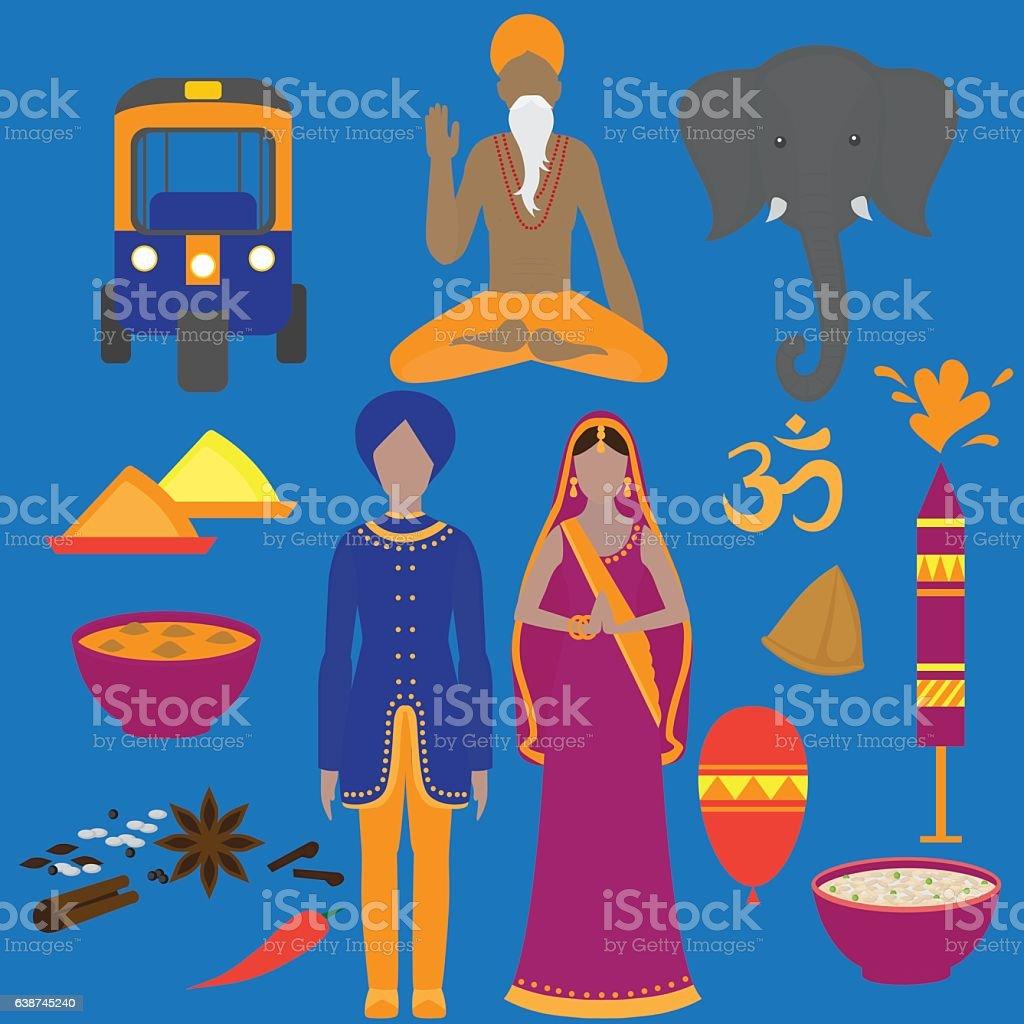 India symbols set. Hinduism design elements. vector art illustration