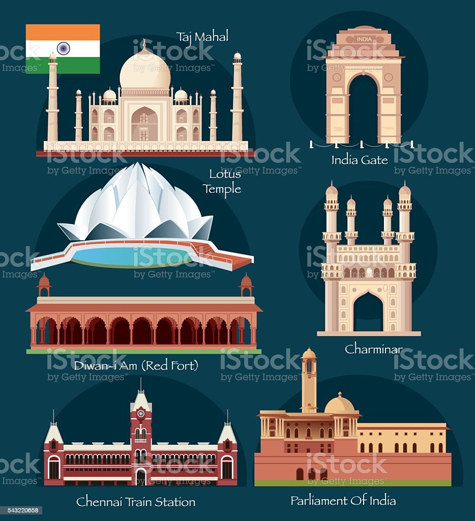 India Symbols vector art illustration