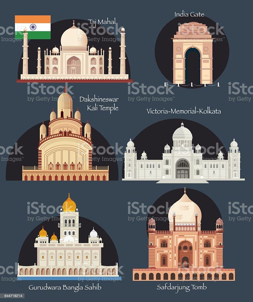 India Symbols vector art illustration