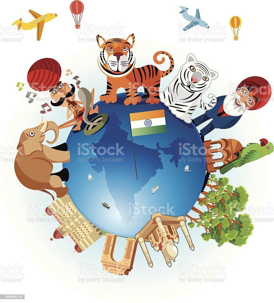 India Travel Cartoon royalty-free stock vector art