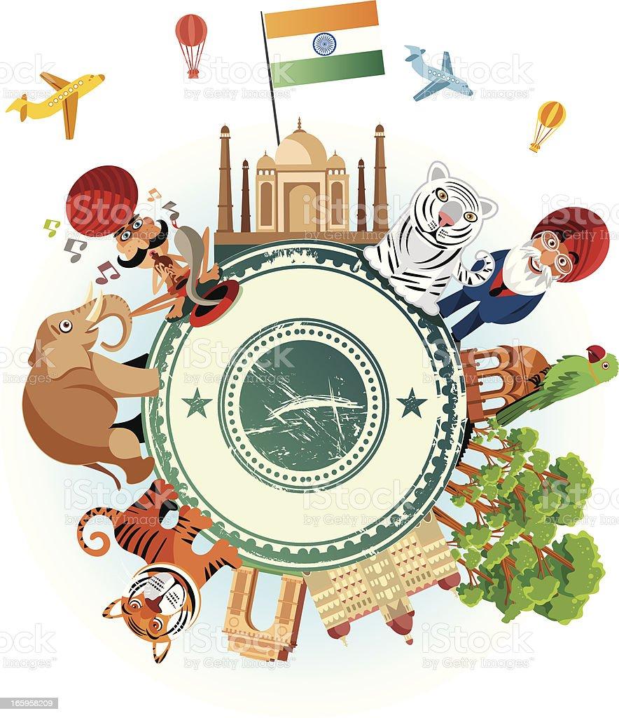 India Travel Cartoon vector art illustration