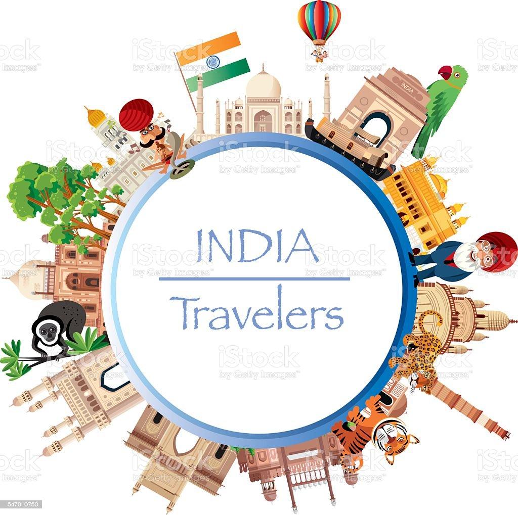 India Travel vector art illustration