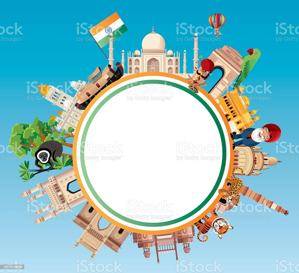 India Travel vector art illustration