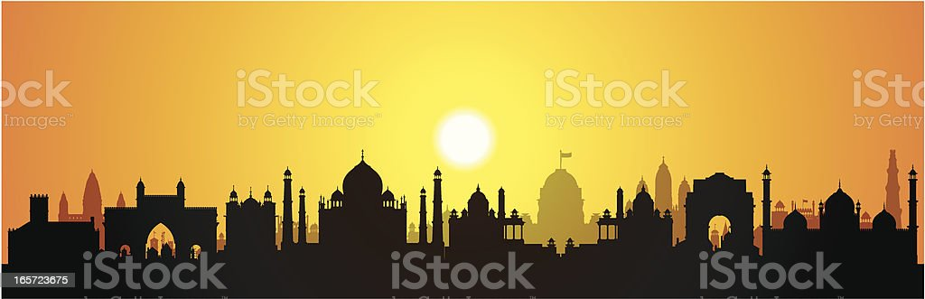 India (Buildings Are Detailed, Moveable and Complete) royalty-free stock vector art