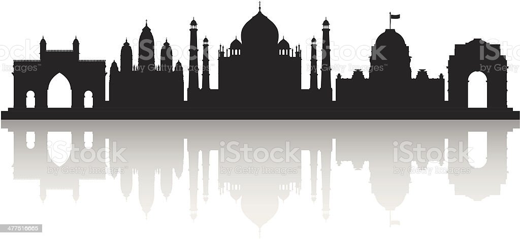 India (Each Building is Moveable and Complete) vector art illustration