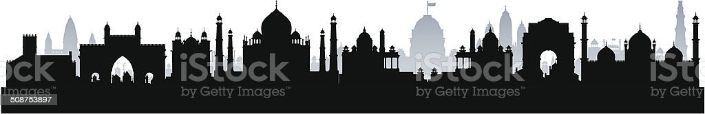 India (Complete, Moveable Buildings) vector art illustration