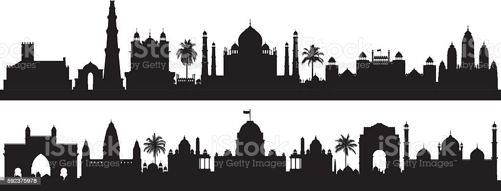 India (Buildings are Detailed, Complete and Moveable) vector art illustration