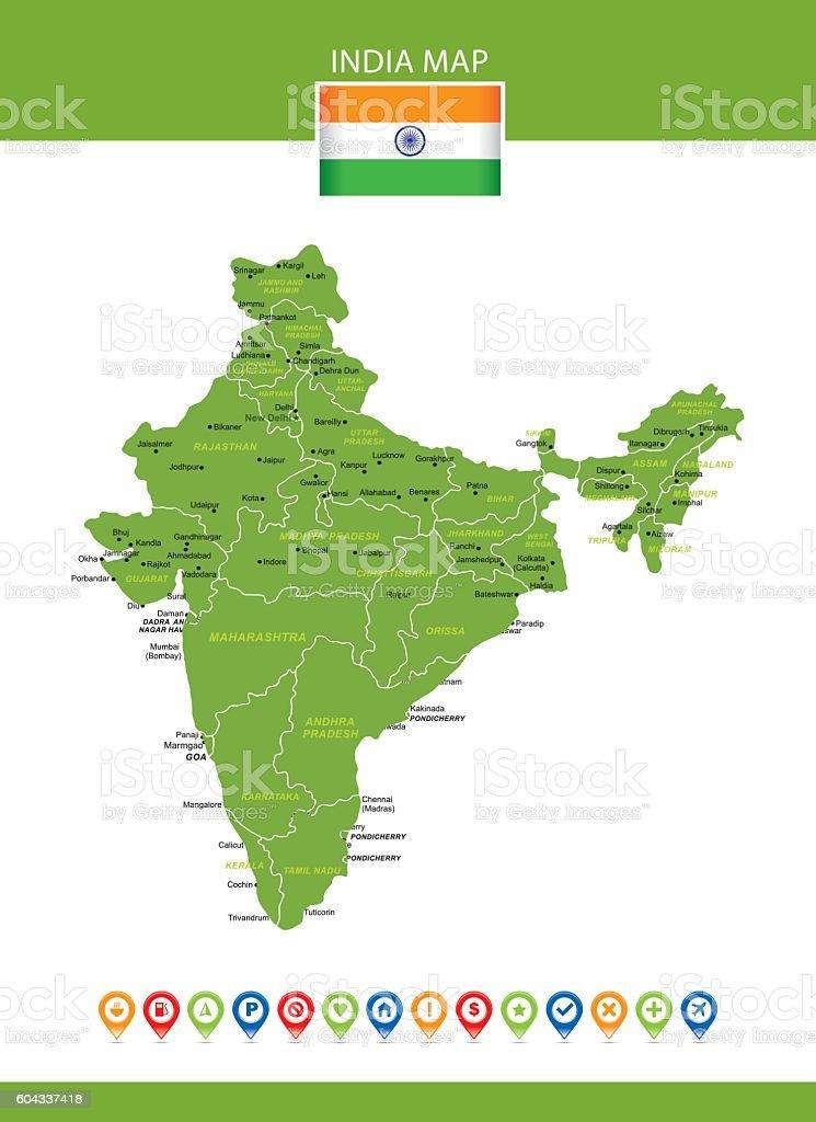 India Vector Map vector art illustration