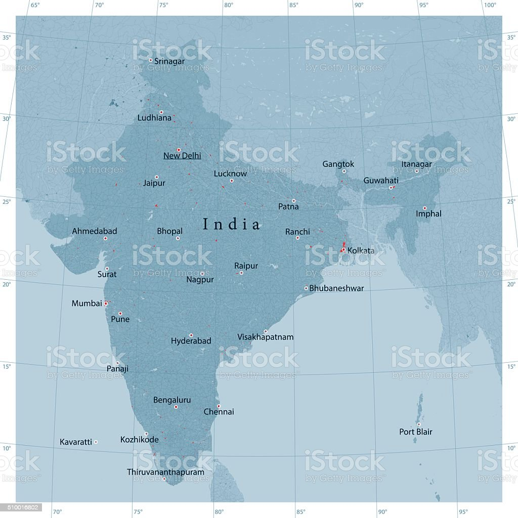 India Vector Road Map vector art illustration
