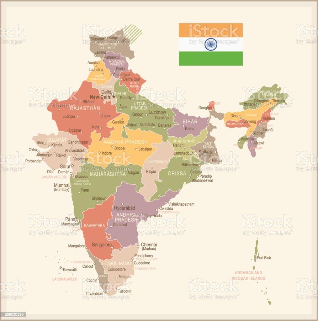 India - vintage map and flag - illustration vector art illustration