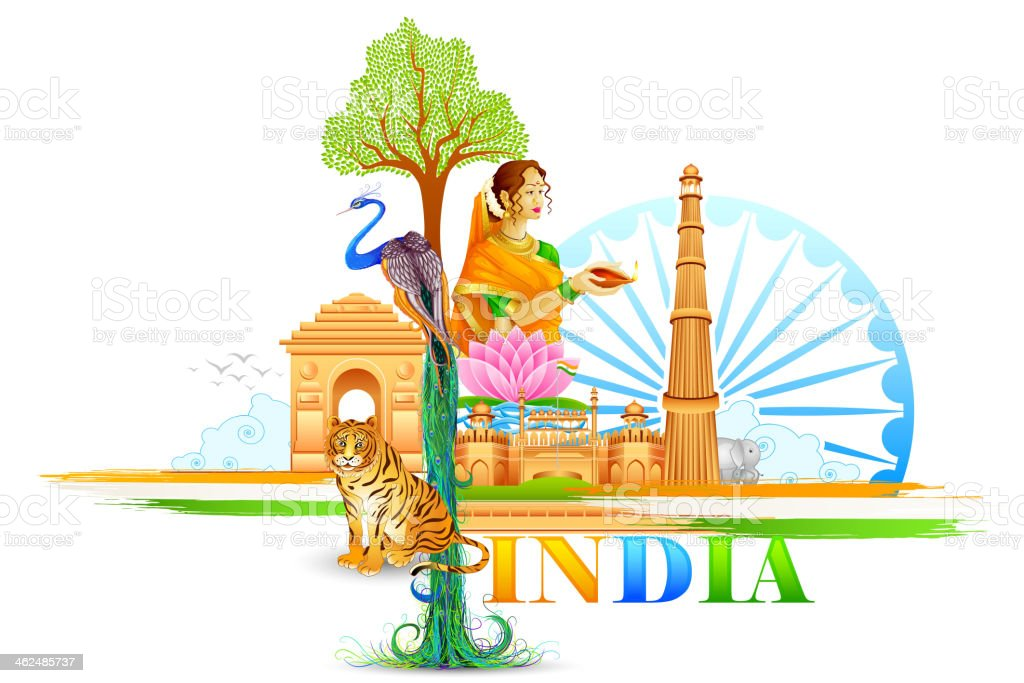 India Wallpaper vector art illustration