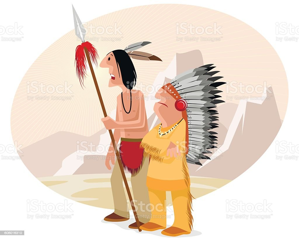 Indian and chief vector art illustration