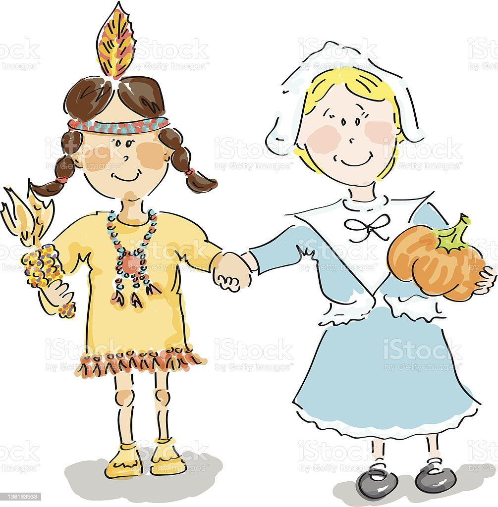 Indian and Pilgrim friend royalty-free stock vector art