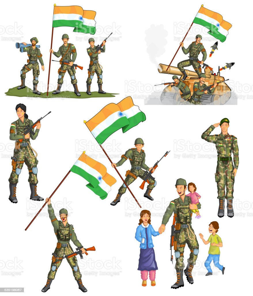 Indian army showing victory of India vector art illustration