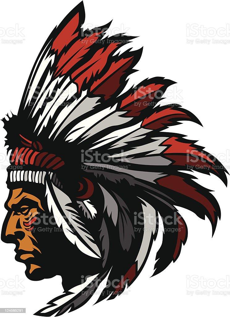 Indian Chief Mascot Head Graphic vector art illustration