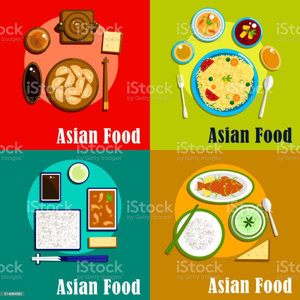 Indian, chinese, thai and korean cuisine vector art illustration