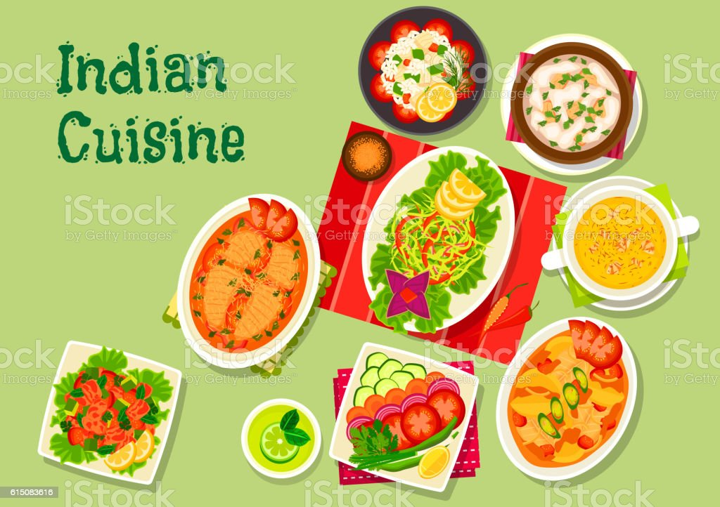 Indian cuisine lunch dishes icon for menu dessign vector art illustration
