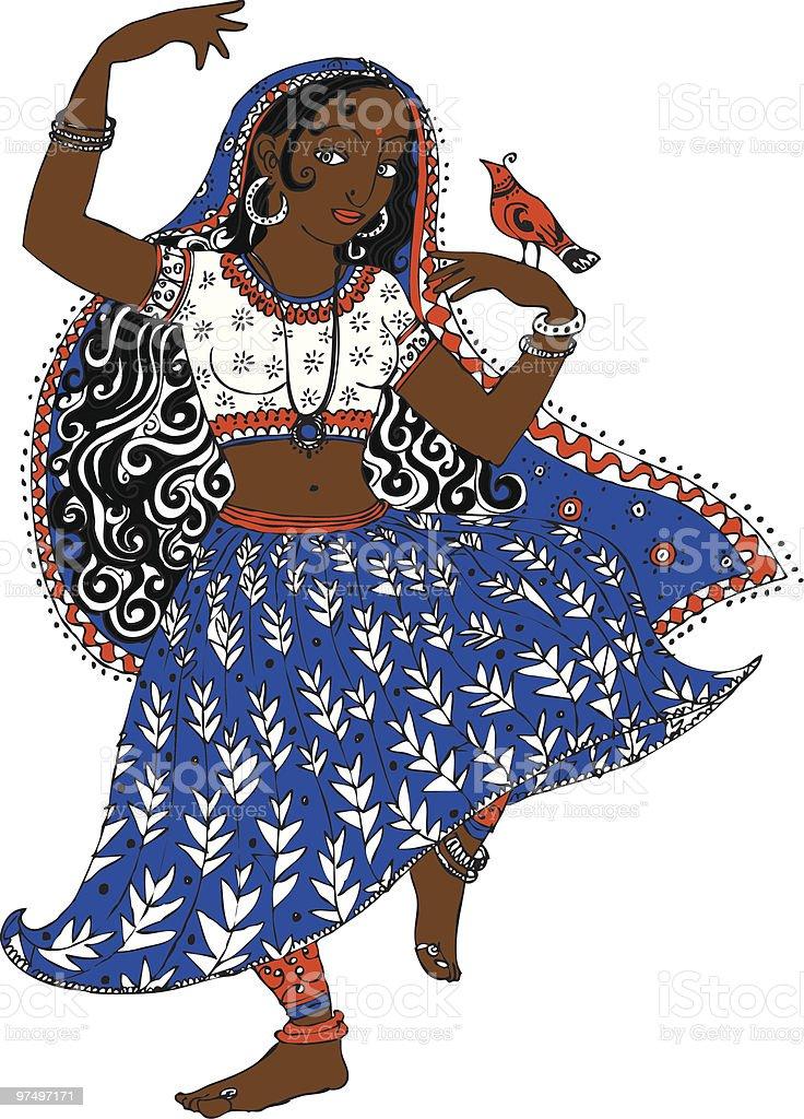 Indian dancer with bird royalty-free stock vector art