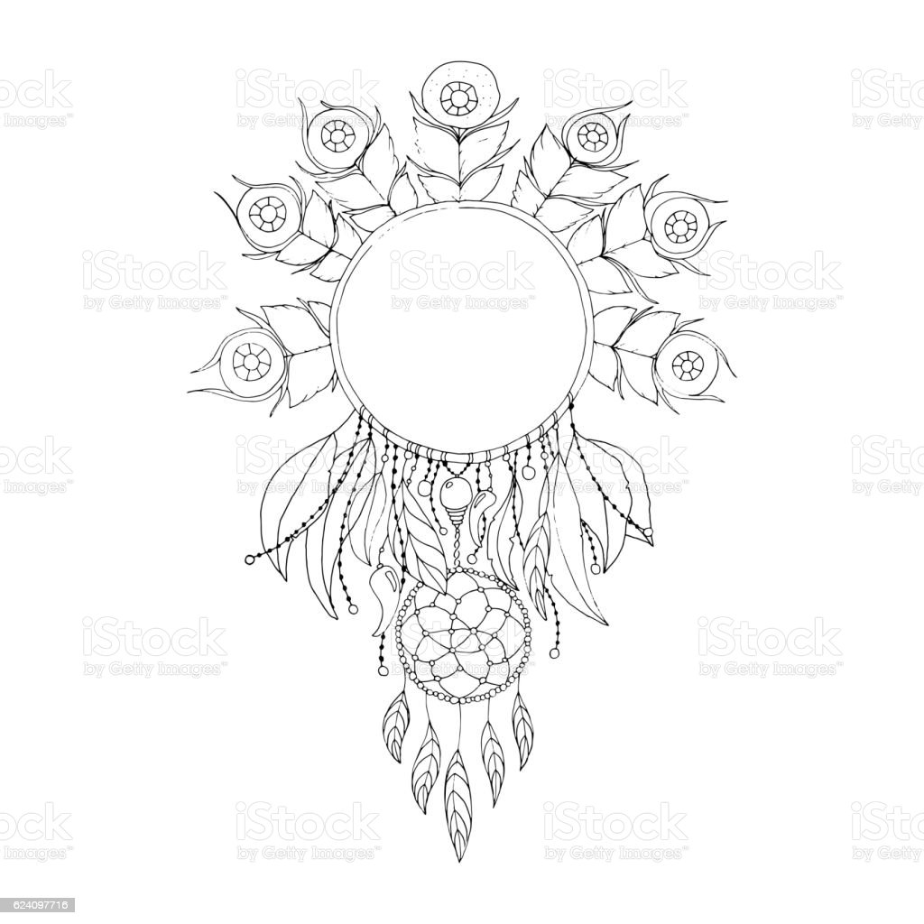 Indian Dream catcher, black and white ethnic graphic element vector art illustration