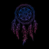 Indian Dream catcher, black background and colorful bright ethnic graphic
