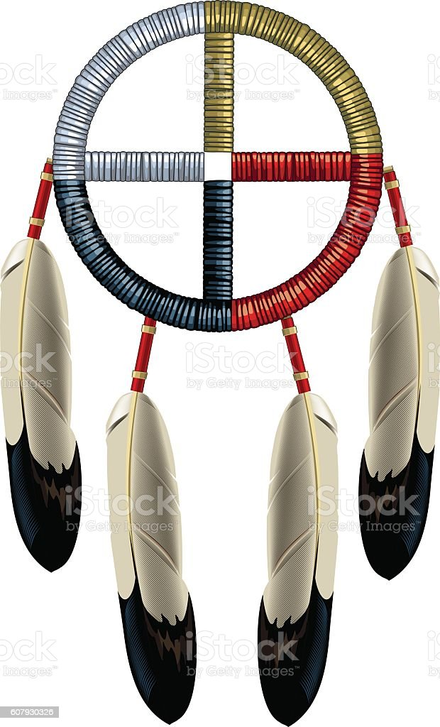 Indian Dreamcatcher with eagle feathers royalty-free stock vector art