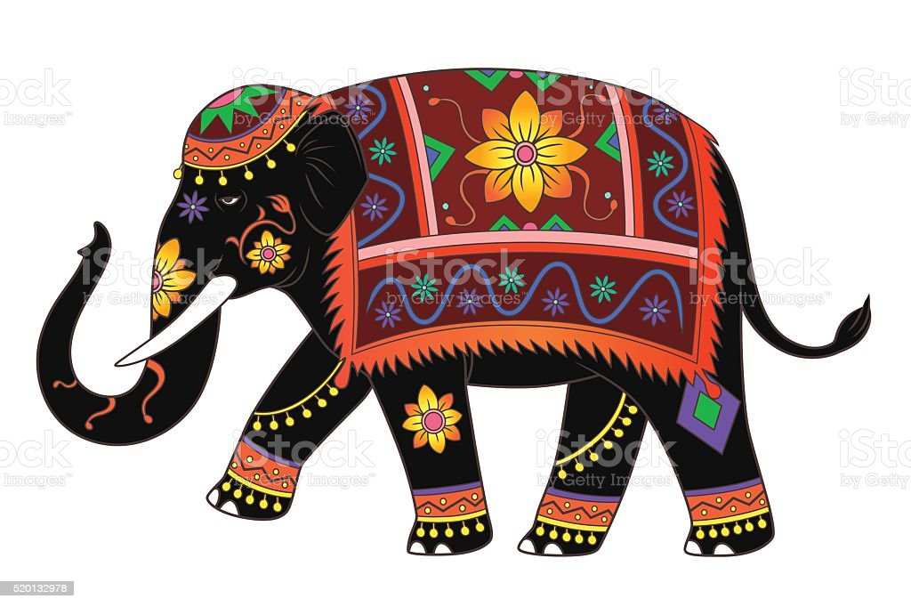 indian elephant color royalty free stock vector art