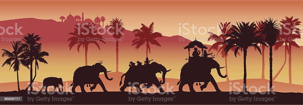 Indian elephants royalty-free stock vector art