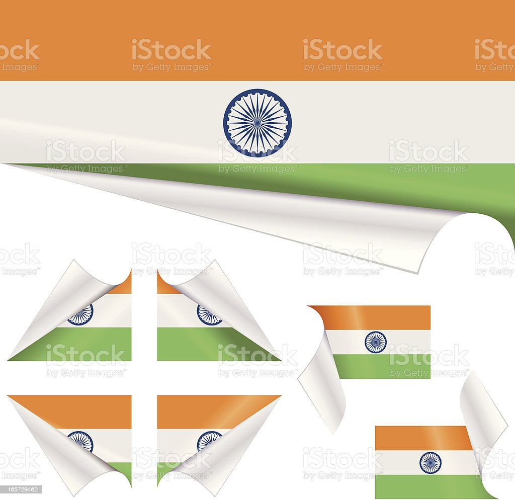 Indian Flags behind Curled Paper vector art illustration