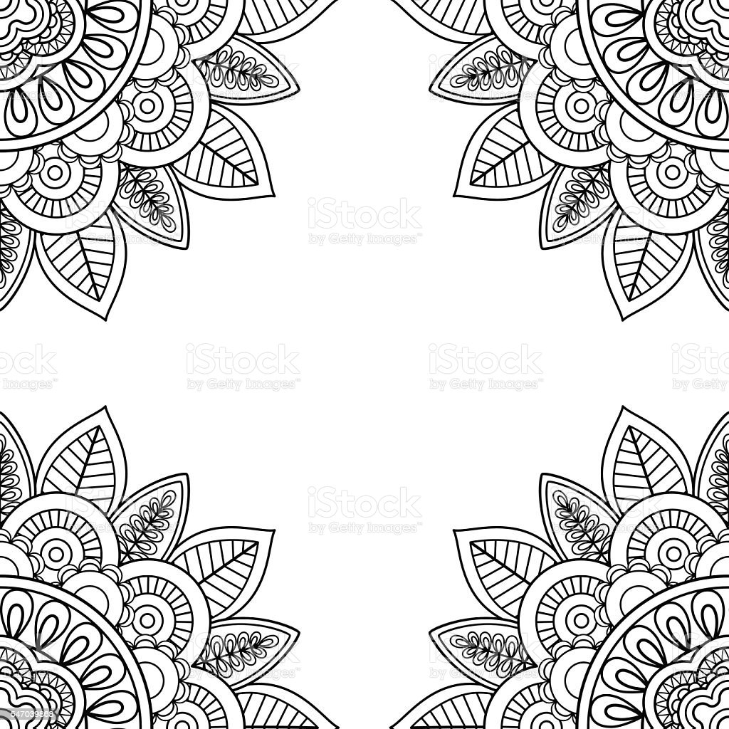 indian floral frame for coloring pages book stock vector art