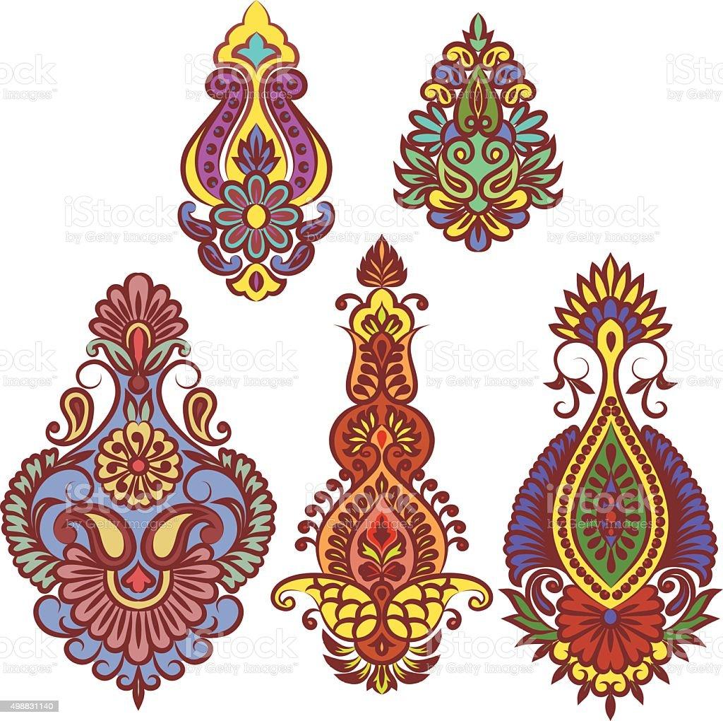 Indian flowers vector art illustration