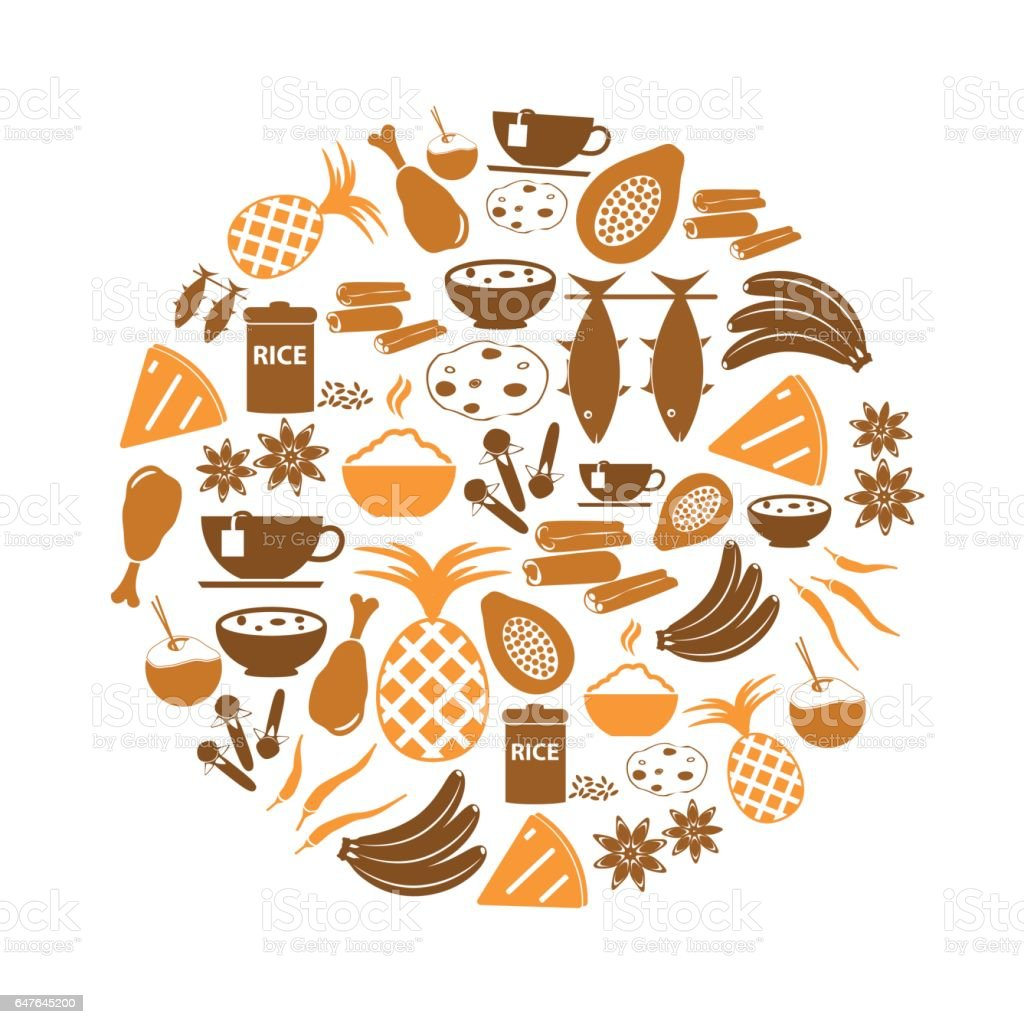indian food theme set of simple icons in circle eps10 vector art illustration