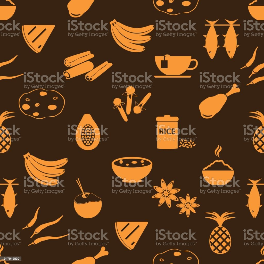 indian food theme set of simple icons seamless brown pattern eps10 vector art illustration
