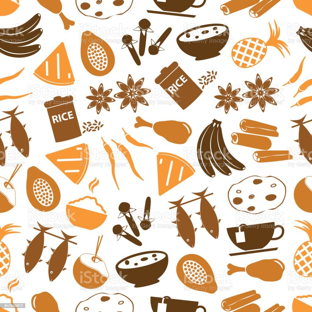 indian food theme set of simple icons seamless pattern eps10 vector art illustration
