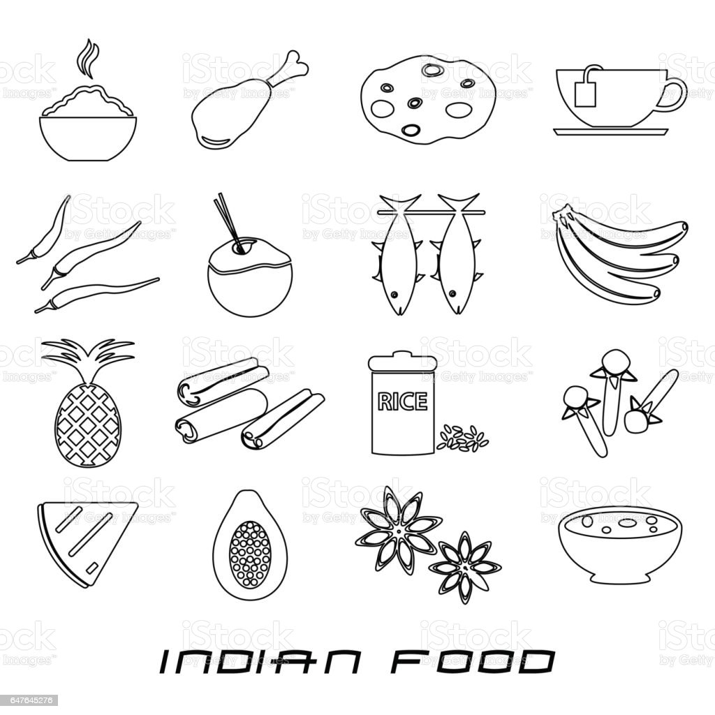 indian food theme set of simple outline icons eps10 vector art illustration