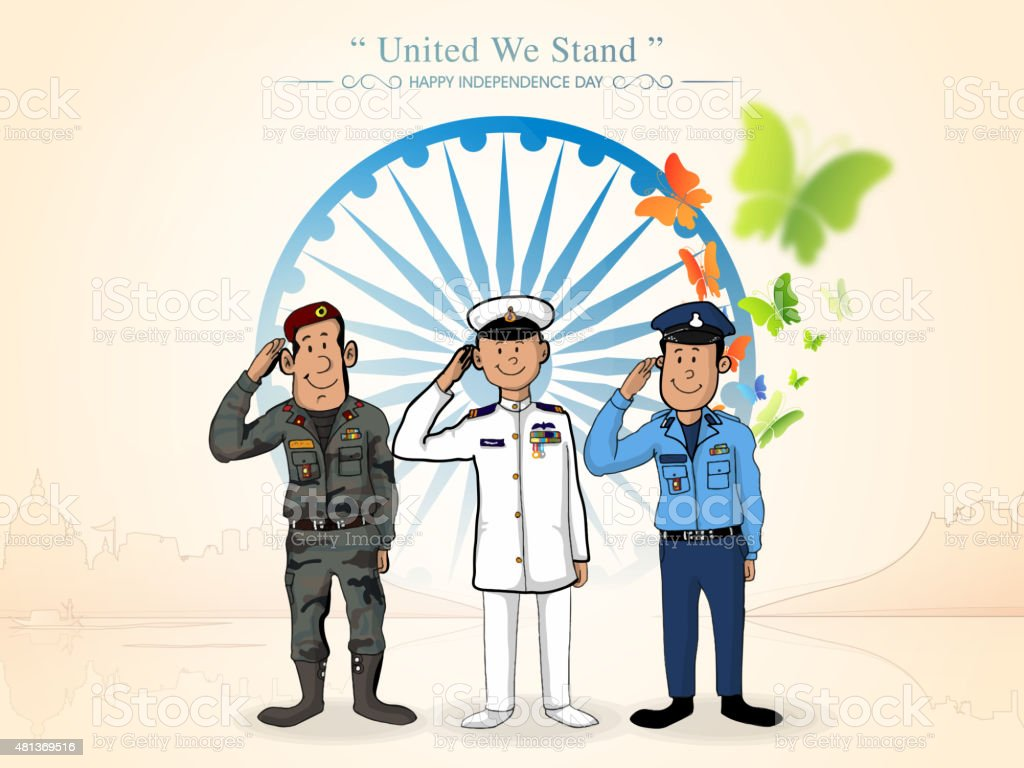 Indian force officers for Independence Day. vector art illustration