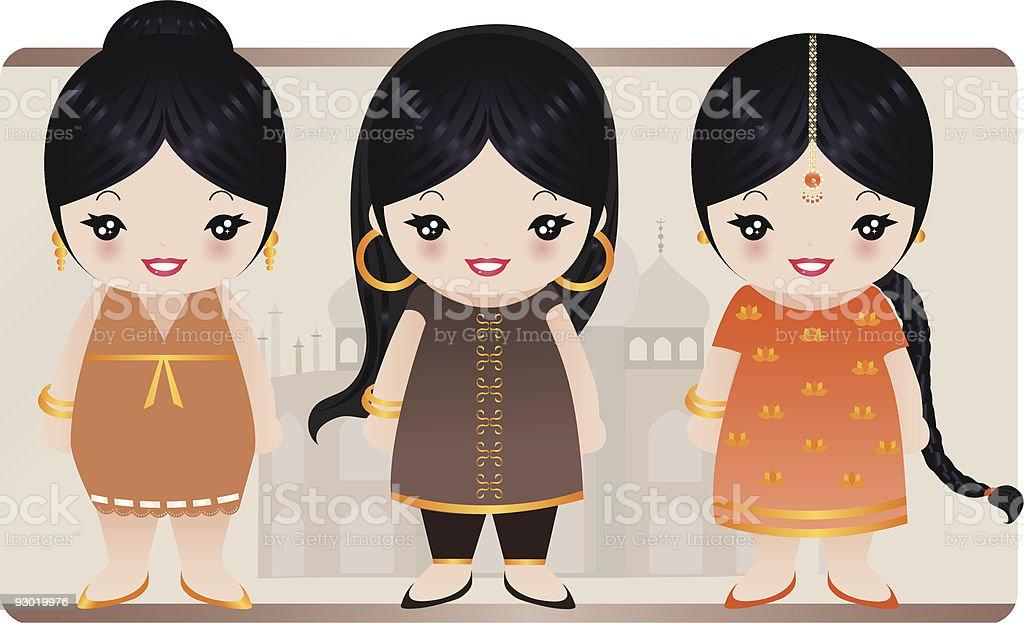 Indian niñas illustracion libre de derechos libre de derechos