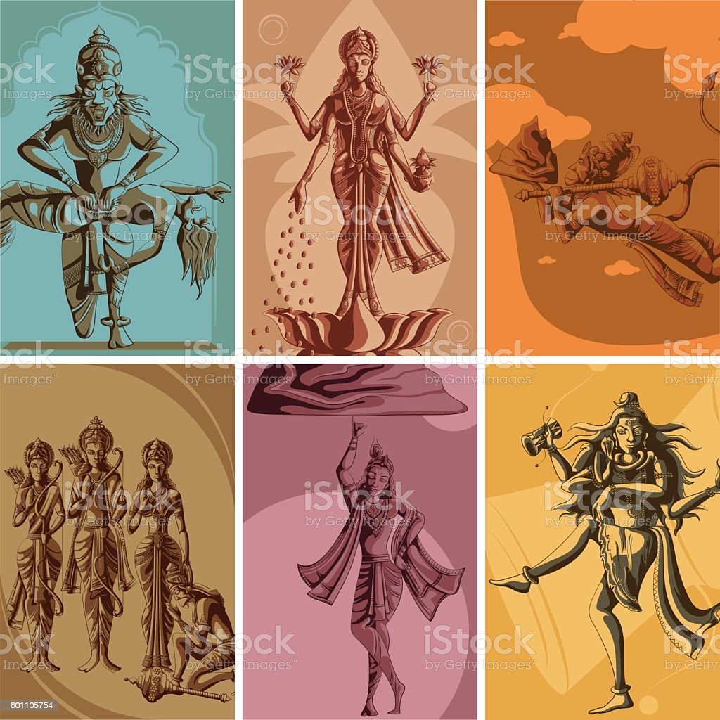 Indian God and Goddess Religious Vintage Poster vector art illustration