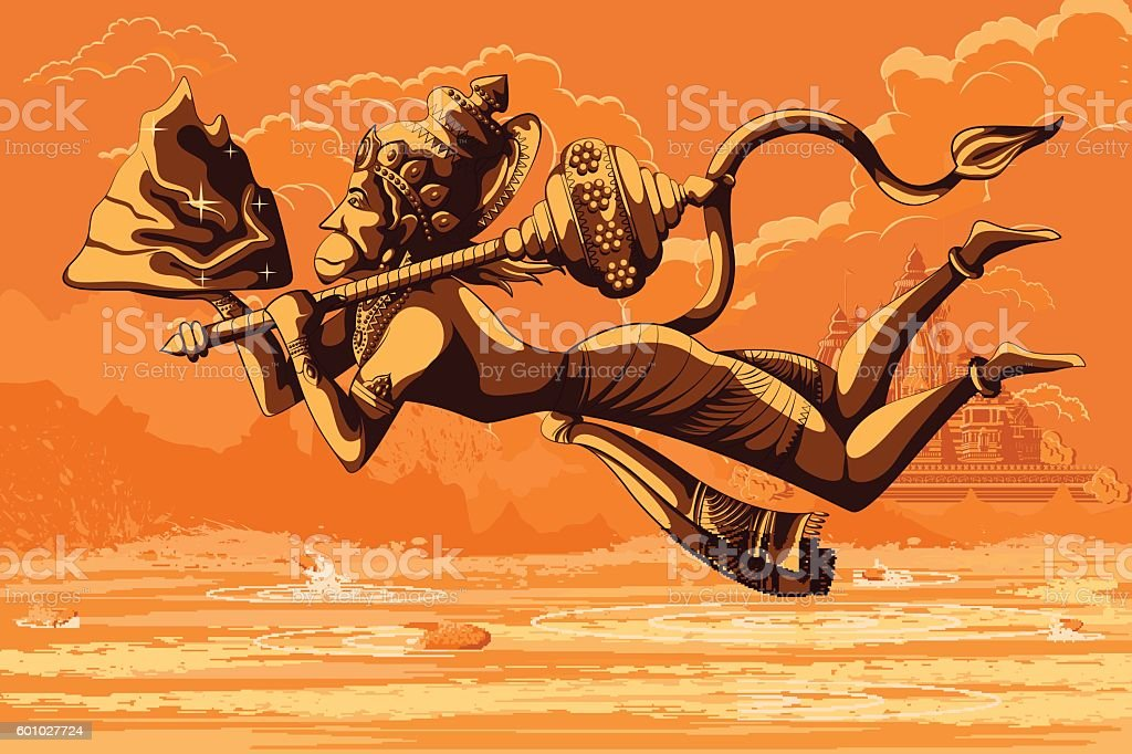 Indian God Hanuman flying with mountain vector art illustration