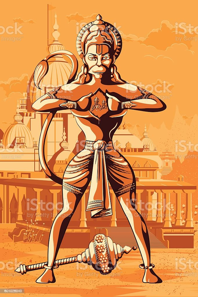 Indian God Hanuman showing Rama and Sita vector art illustration