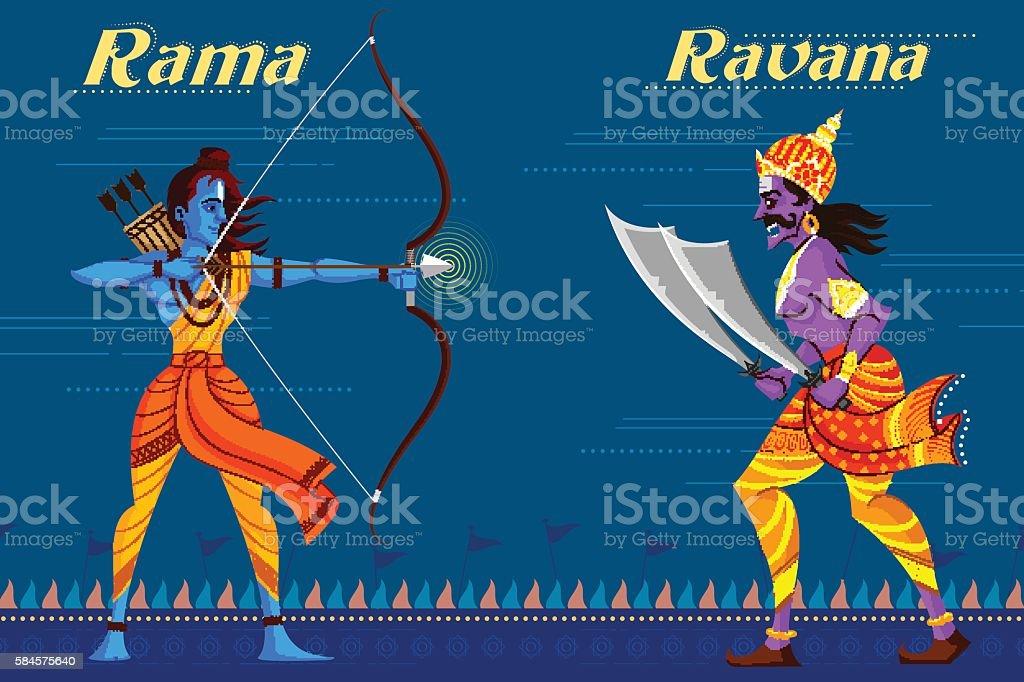 Indian God Rama killing Ravana vector art illustration