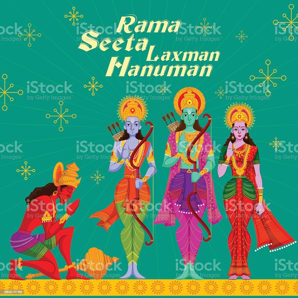 Indian God Rama Laxman and Sita with Hanuman vector art illustration