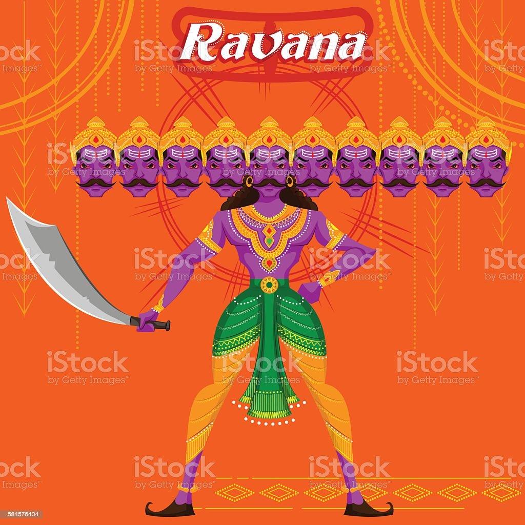 Indian God Ravana with sword vector art illustration