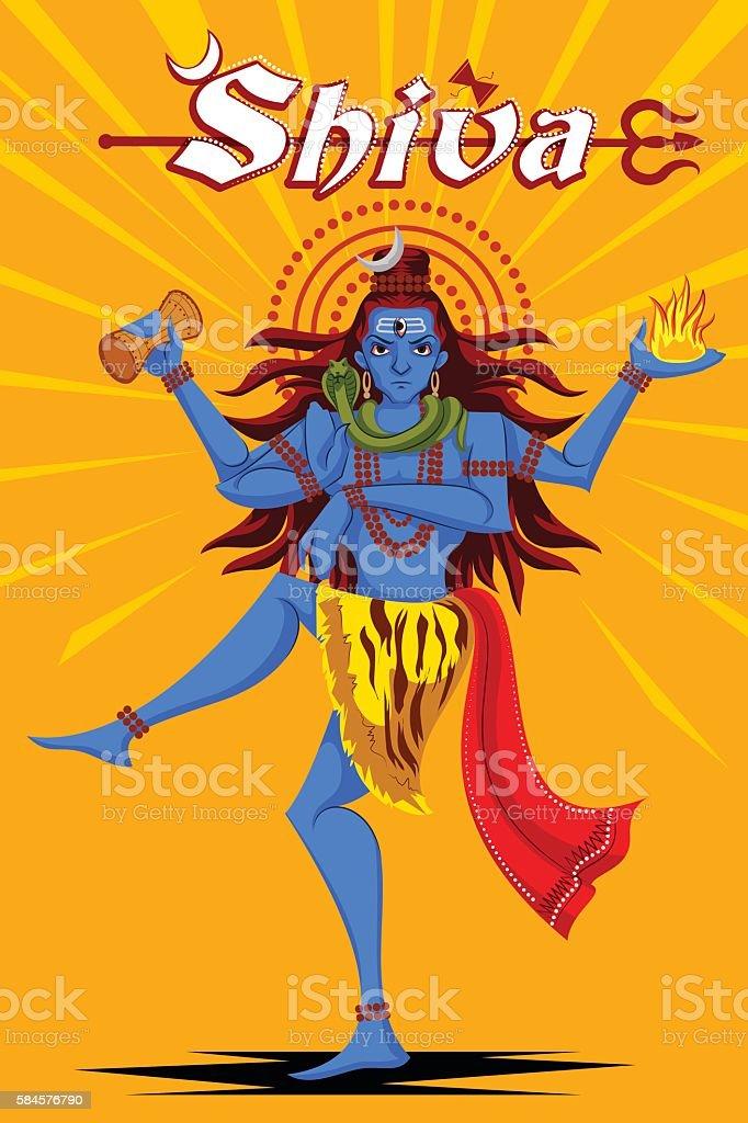 Indian God Shiva dancing in Nataraja pose vector art illustration