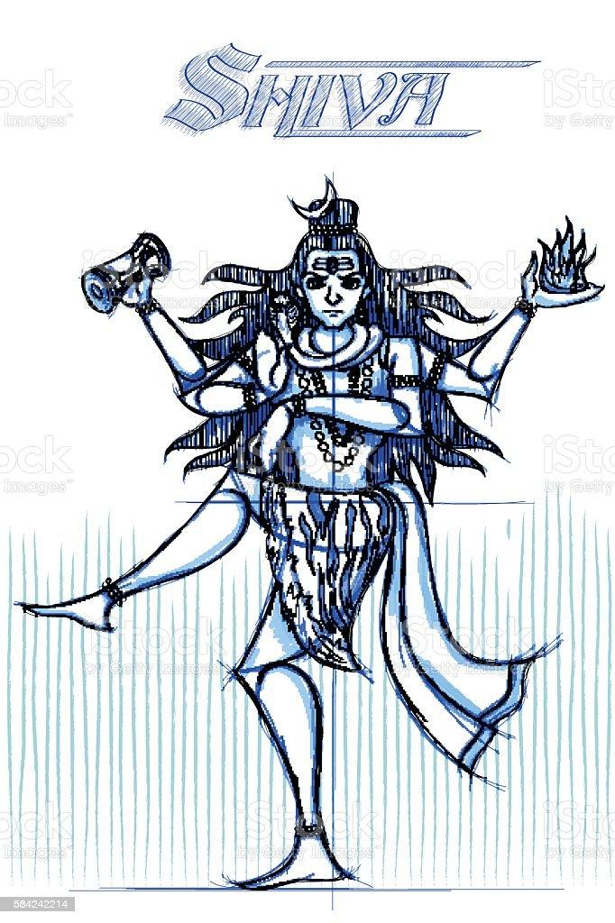 Indian God Shiva in sketchy look vector art illustration